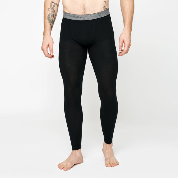 Men's Merino Base Long Pants - Black
