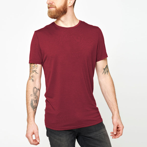Men's Merino Base T-shirt - Red Wine