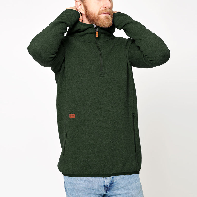 Men's Monk Pullover Wool Hoodie - Green Forest