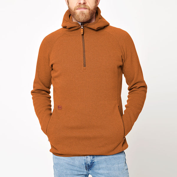 Men's Monk Pullover Wool Hoodie - Orange