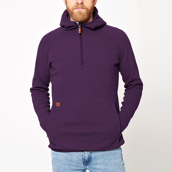 Men's Monk Pullover Wool Hoodie - Purple