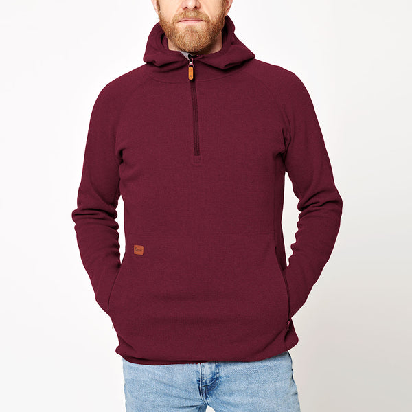 Men's Monk Pullover Wool Hoodie - Red Wine