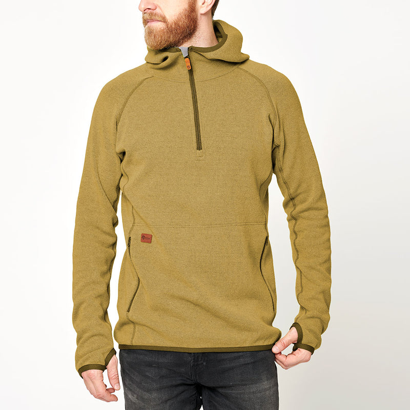 Men's Monk Pullover Wool Hoodie - Yellow Fall