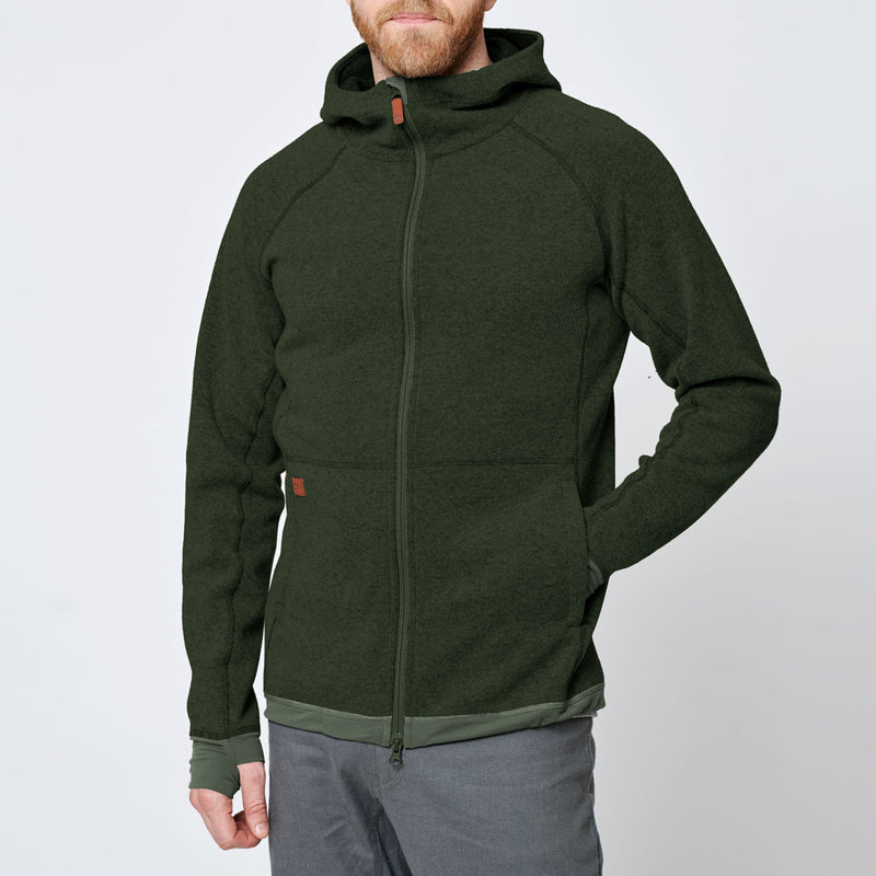 Men's Wool Hoodie - Green Forest
