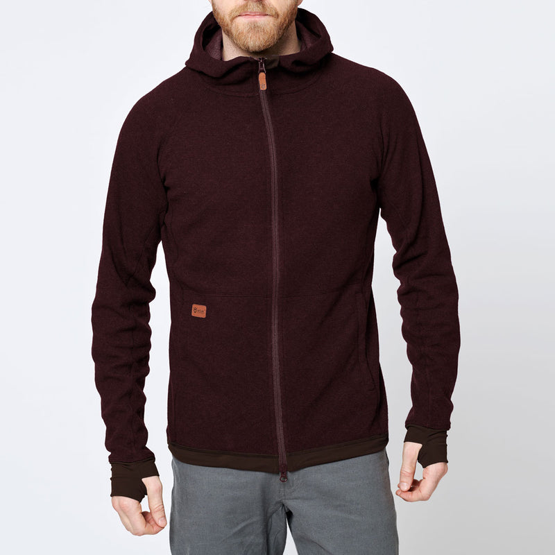 Men's Wool Hoodie - Red Wine