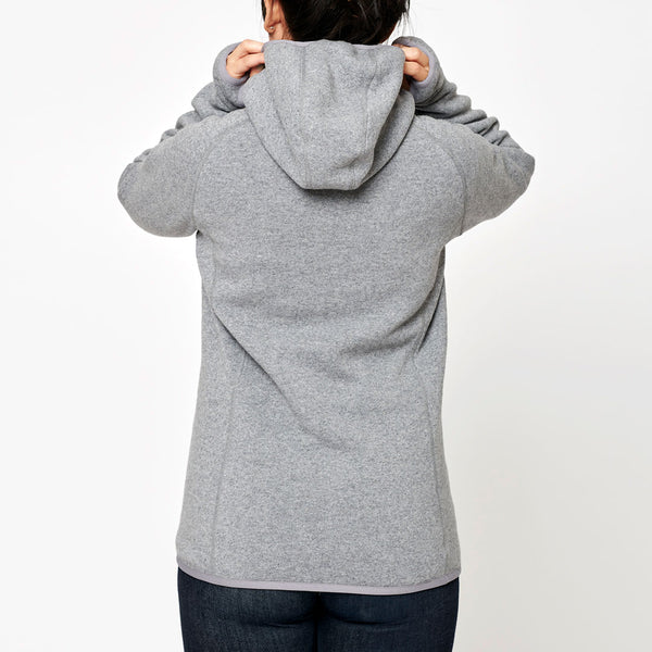 Women's Monk Pullover Wool Hoodie - Grey