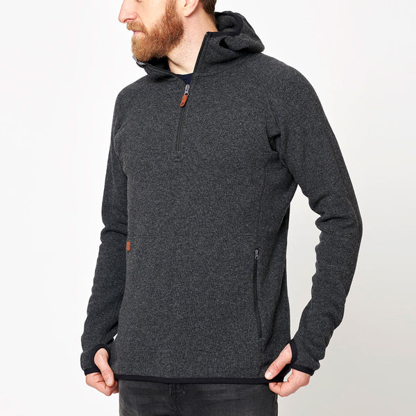 Men's Monk Pullover Wool Hoodie - Anthracite