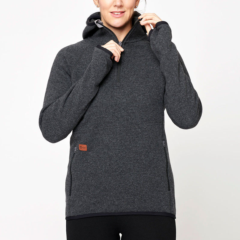Women's Monk Pullover Wool Hoodie - Anthracite