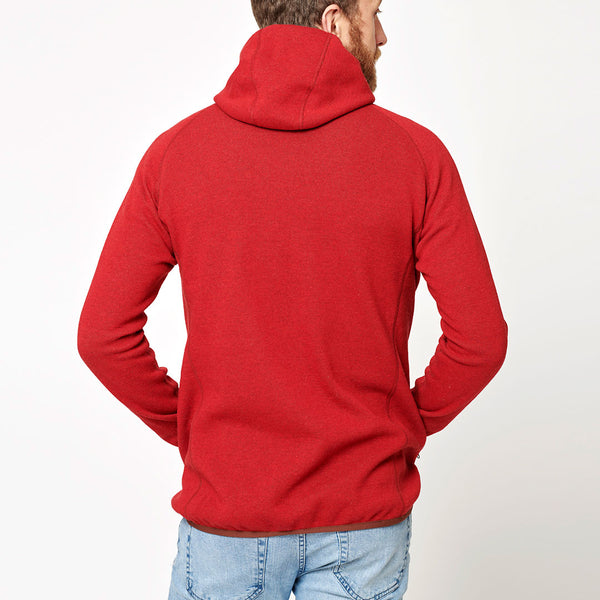 Men's Monk Pullover Wool Hoodie - Red