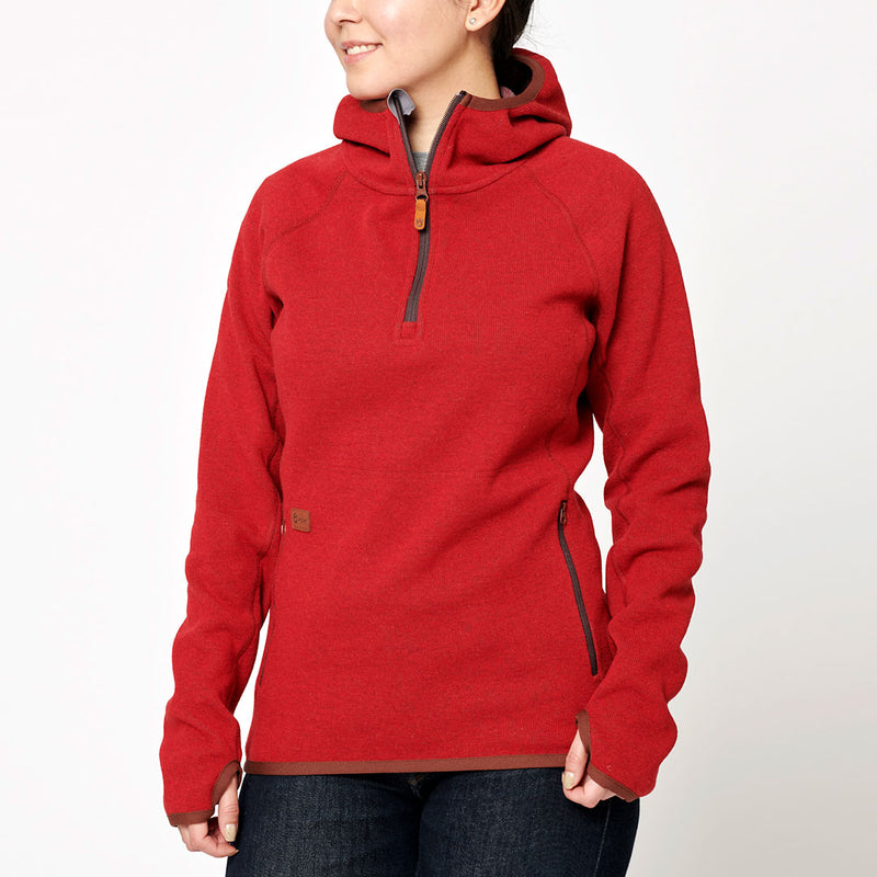 Women's Monk Pullover Wool Hoodie - Red