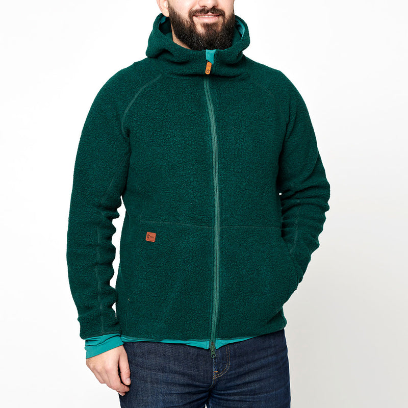 Men's Wool Pile Hoodie - Green Forest