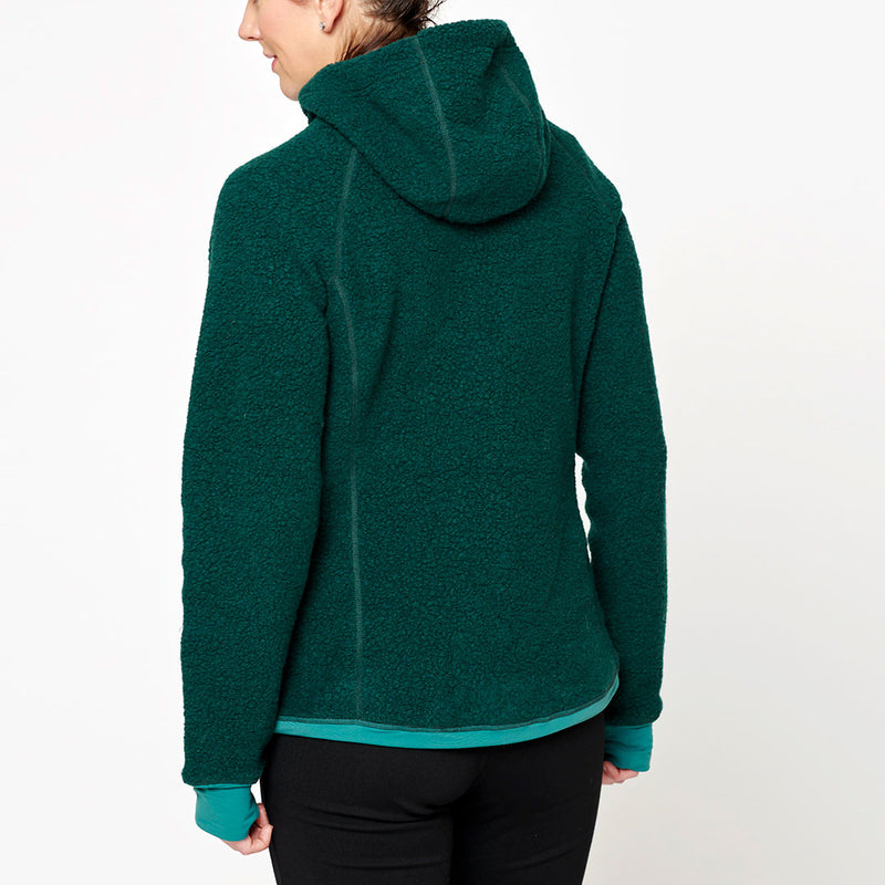 Women's Wool Pile Hoodie - Green Forest