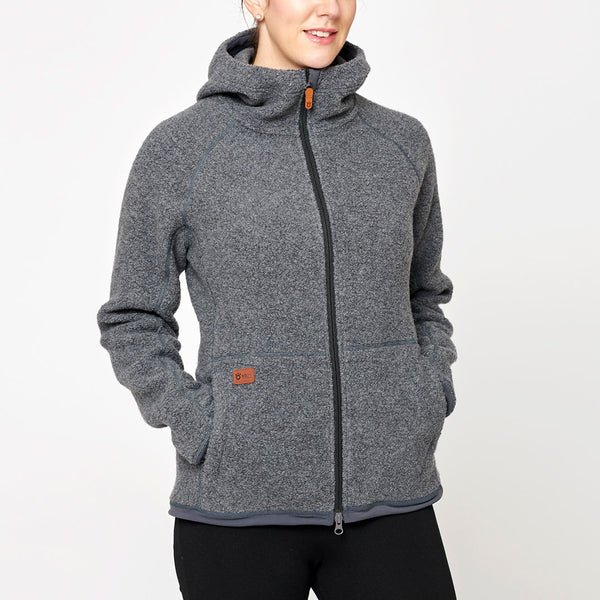 Women's Wool Pile Hoodie - Dark Grey