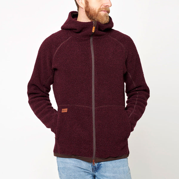 Men's Wool Pile Hoodie - Red Wine