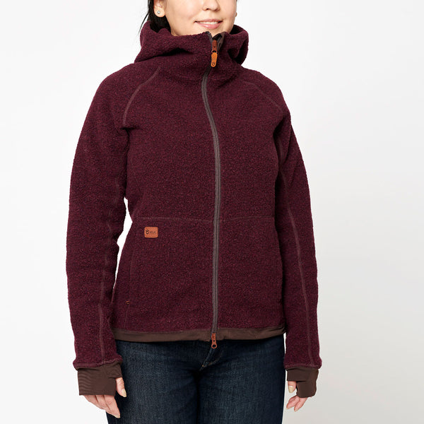 Women's Wool Pile Hoodie - Red Wine