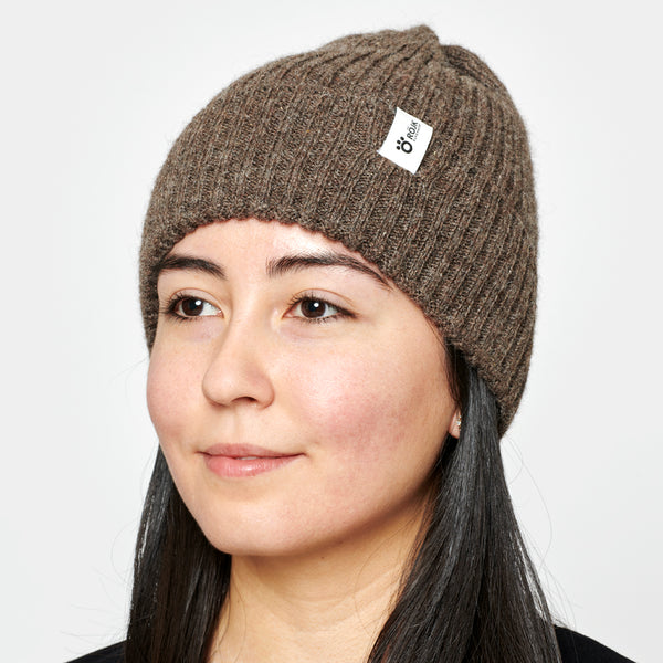 Ribber Wool Beanie - Brown