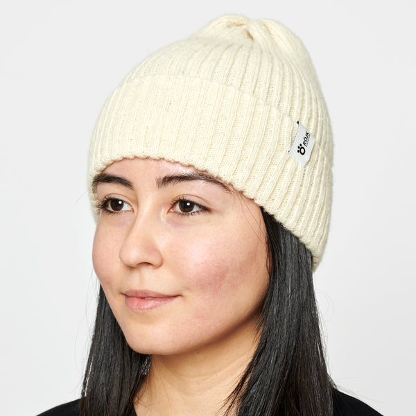 Ribber Wool Beanie - White
