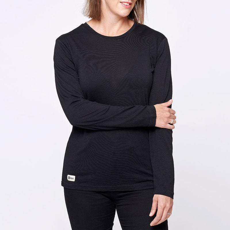 Women's Merino Long Tee - Black