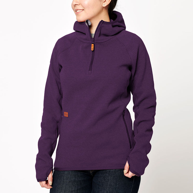 Women's Monk Pullover Wool Hoodie - Purple