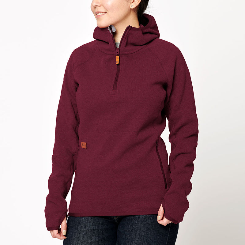 Women's Monk Pullover Wool Hoodie - Red Wine