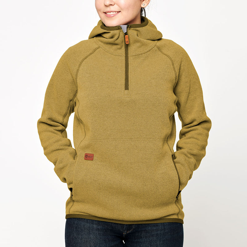 Women's Monk Pullover Wool Hoodie - Yellow Fall