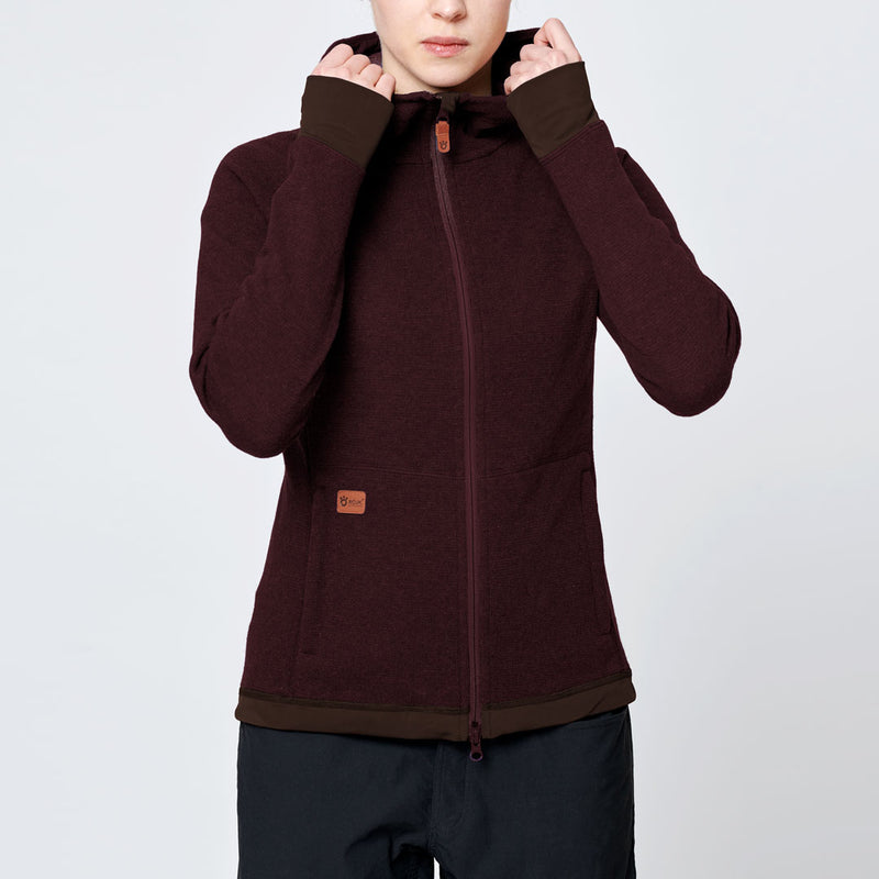 Women's Wool Hoodie - Red Wine