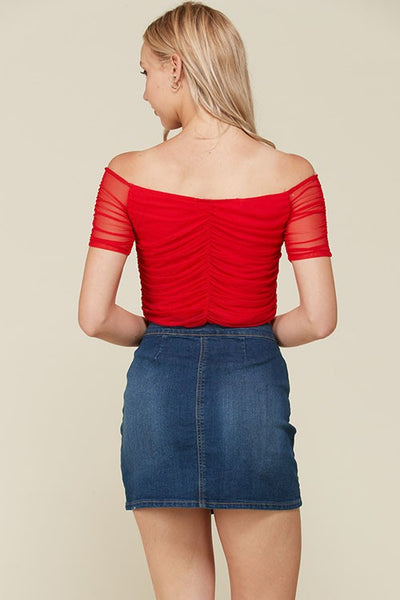 Off The Shoulder Mesh Crop Top