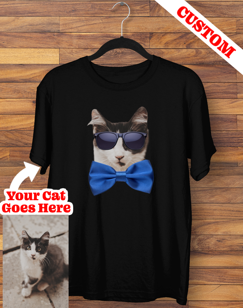 Custom Sunglasses & Bowtie Cat T-shirt