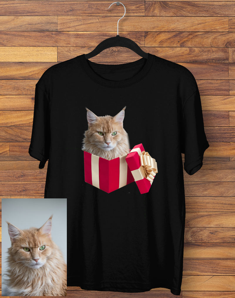 Custom gift Box Cat T-shirt