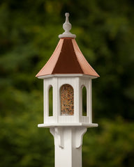 "FHP 10"" Bird feeder with Arched Panels Bright Copper Roof"