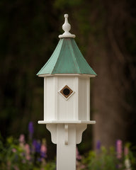 "FHP 10"" Birdhouse with 1 Copper Portal Patina Copper Roof"