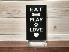 Eat Play Love Block Wall Plaque Laser Engraved Personalized Custom Sign 635 by All Seasons