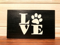 Love (with Paw Print) Block Wall Plaque Laser Engraved Personalized Custom Sign 635 by All Seasons