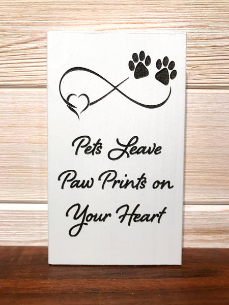 Pets Leave Paw Prints on Your Heart Block Wall Plaque Laser Engraved Personalized Custom Sign 635 by All Seasons