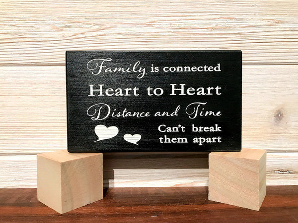 Family is Connected Block Wall Plaque Laser Engraved Personalized Custom Sign 635 by All Seasons