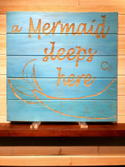 A Mermaid Sleeps Here Slatboard Wall Plaque Laser Engraved Personalized Custom Sign 1717 by All Seasons