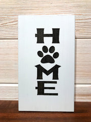Home (Pawprint) Block Wall Plaque Laser Engraved Personalized Custom Sign 635 by All Seasons