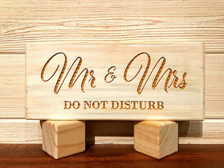 Mr & Mrs (Do Not Disturb) Block Wall Plaque Laser Engraved Personalized Custom Sign 835 by All Seasons