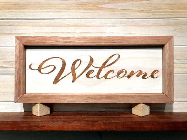 Framed Welcome Wall Plaque Laser Engraved Personalized Custom Sign 165 by All Seasons