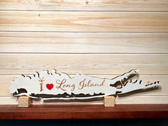 I Heart Long Island Cutout Wall Plaque, Wall Art, Map LI Laser Engraved Personalized Custom Sign 245 by All Seasons