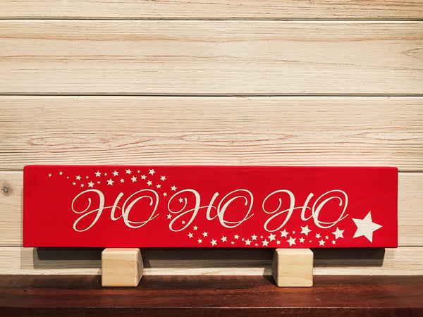 Ho Ho Ho with Stars Wall Plaque Laser Engraved Personalized Custom Sign 163 by SignsByAllSeasons