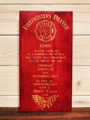 Firefighter Prayer Wall Plaque Laser Engraved Personalized Inspirational Custom Sign 105 by All Seasons