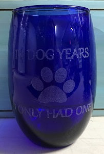 All Seasons Pet Lovers Blue Stemless Wine Glass