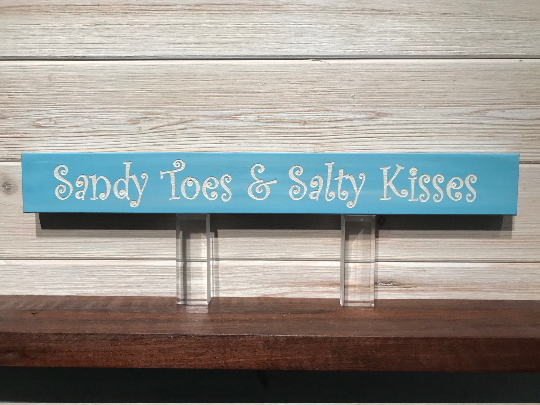 Sandy Toes & Salty Kisses Wall Plaque Laser Engraved Personalized Custom Sign 162 by All Seasons