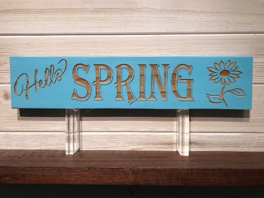 Hello Spring Wall Plaque Laser Engraved Personalized Custom Sign 163 by All Seasons