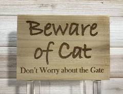 Beware of Cat Wall Plaque Laser Engraved Custom Interior Exterior Sign 855 by All Seasons