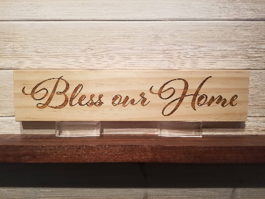 Bless This Home Wall Plaque Laser Engraved Personalized Custom Sign 163 by All Seasons