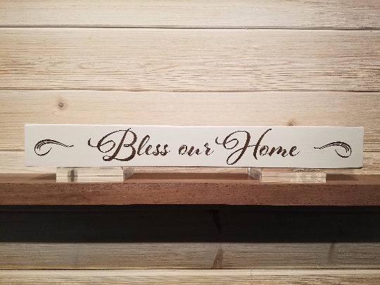 Bless Our Home Wall Plaque Laser Engraved Personalized Custom Sign 162 by All Seasons
