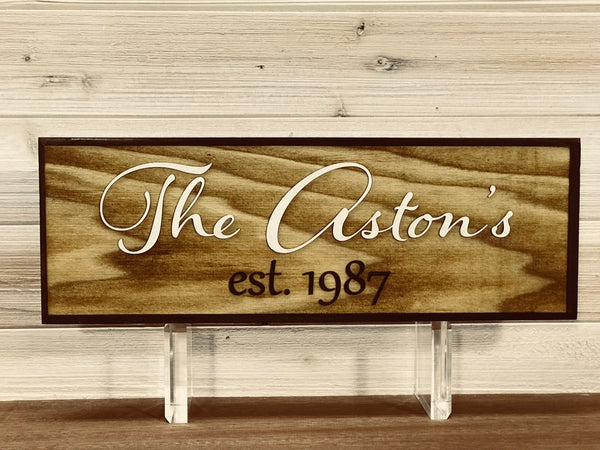 Family Name Wall Plaque Laser Engraved Personalized Custom Sign 3D effect 165 by All Seasons