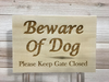 Beware of Dog Wall Plaque Laser Engraved Interior Exterior Custom Sign 855 by All Seasons